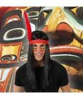 Indianen verkleed pruik met veer voor heren