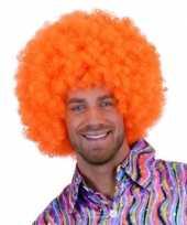 Oranje krulletjes pruik neon 10108553