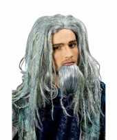 Poseidon verkleedpruik met baard en groene gloed