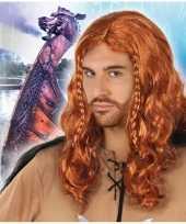 Rode viking verkleed pruik voor heren