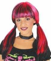 Schoolmeisje heks verkleed pruik rood zwart voor dames