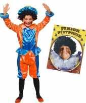 Set van blauw met oranje kids 3 4 jr pietenpak en pruik