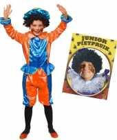 Set van blauw met oranje kids 6 8 jr pietenpak en pruik